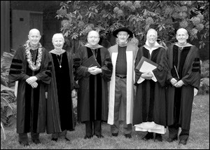 Additionally, honorary Doctor of Divinity degrees were conferred upon the Rev. Roger Alling, former president, Episcopal Preaching Foundation, Inc., from Camp Hill, PA; the Rev. John Barton Sarjeant '65, former Rector, St. John's Episcopal Church, Ross, CA; and the Rev. Thomas H. Schultz, O.H.C. (Order of the Holy Cross), Prior, Incarnation Priory, Berkeley, CA. Dr. A. Gary Shilling, Chairman, Episcopal Preaching Foundation, Inc., from Springfield, NJ, received the honorary degree of Doctor of Humane Letters.