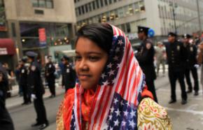 Aliza Fatima, 12, of Queens, participates in the American Muslim Day Parade on September 26, 2010, in New York City. The annual parade celebrates the presence and contributions of Muslims in New York City and surrounding areas. Photo by Spencer Platt/Getty Images via Thinkstock